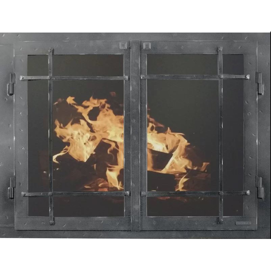 Classic Cabinet Mission Style Masonry Fireplace Door In Neutral Hammered Finish