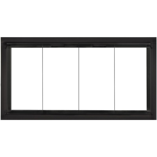 Zion Zero Clearance Fireplace Door - Matte Black - Square handles -  Clearview Bi-fold Doors