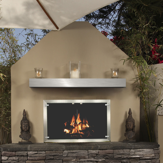 Brushed Stainless Steel Mantel Shelf - Great for outdoor fireplaces.