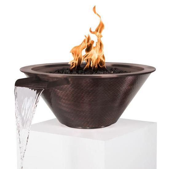 """24"""" Cadiz Round Hammered Copper Fire & Water Bowl"""