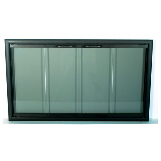 "42"" Basic Z Glass Fireplace Door In Rustic Black"