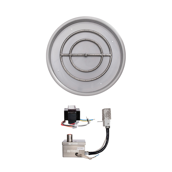 31 Inch Round Drop In Stainless Steel Pan And 24 Inch Round Burner Ring With 12V Electronic Ignition System