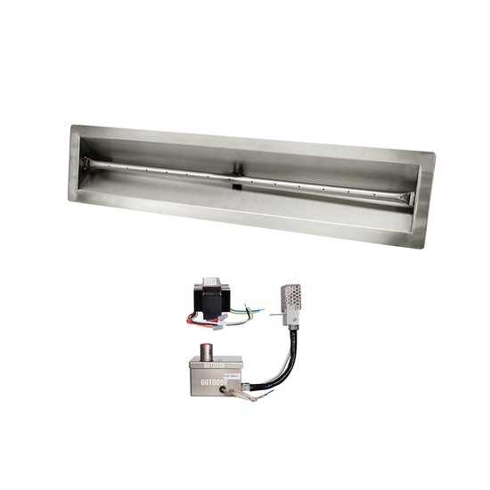 30 Inch V Trough Stainless Steel Pan And 30 Inch Linear Burner With 12V Electronic Ignition System