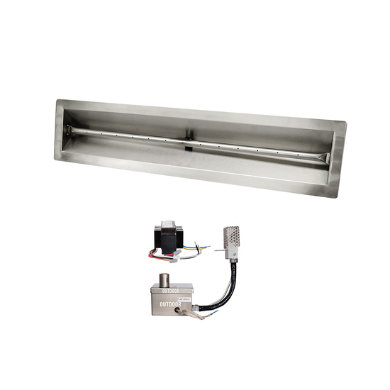 36 Inch V Trough Stainless Steel Pan And 36 Inch Linear Burner With 12V Electronic Ignition System