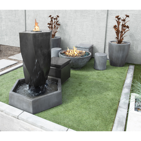 Lifestyle image of the GFRC Vortex Fountain with Fire