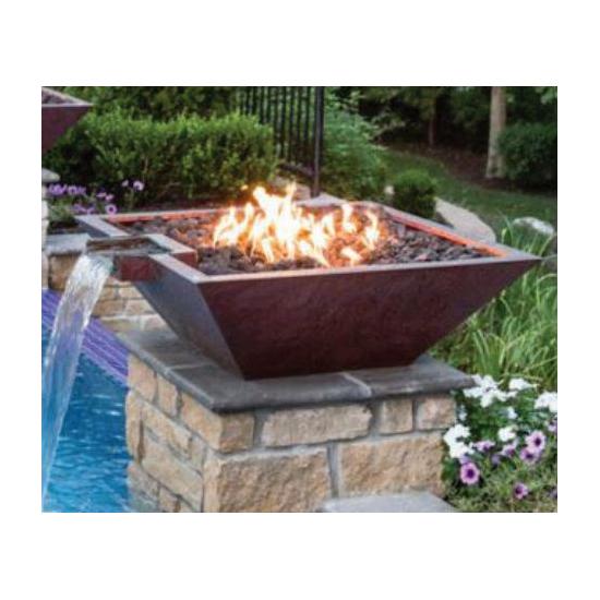 Square 24 Inch x 7 Inch Builder Series Copper Original Lip Water And Fire Pot