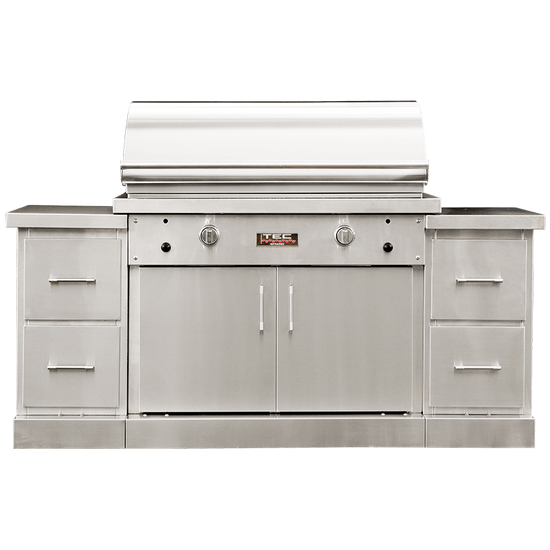 44 Inch TEC Sterling Patio FR Infrared Grill On Stainless Steel Island With Drawer Modules