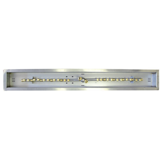 """72"""" x 5"""" Stainless Steel Perfect Flame Linear Fire Line With Stainless Steel Pan"""