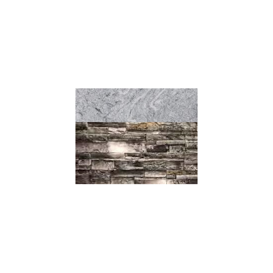 Gray Stacked Stone with Cloudy White countertop