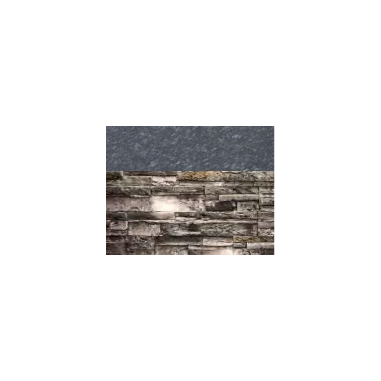 Gray Stacked Stone with Steel Gray Polished countertop