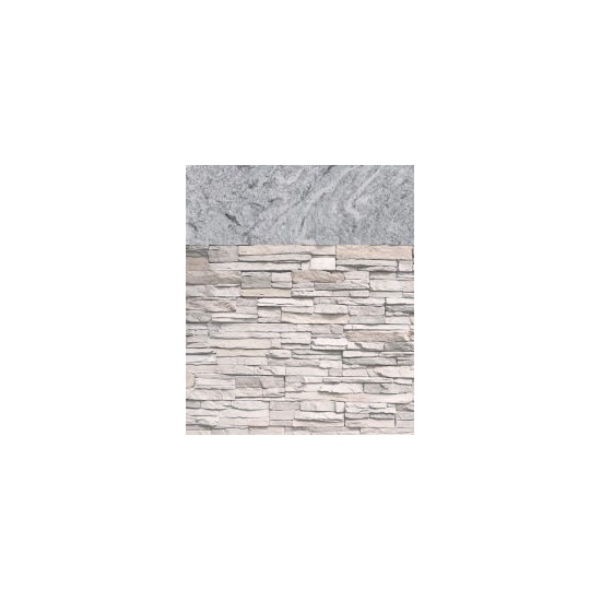 White Stacked Stone with Cloudy White countertop
