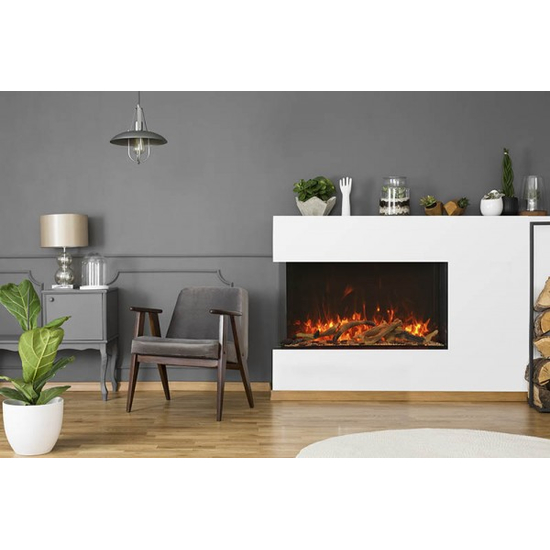 TruView XL Extra Tall 3 sided Indoor/Outdoor Electric Indoor Fireplace Installed as Corner Unit