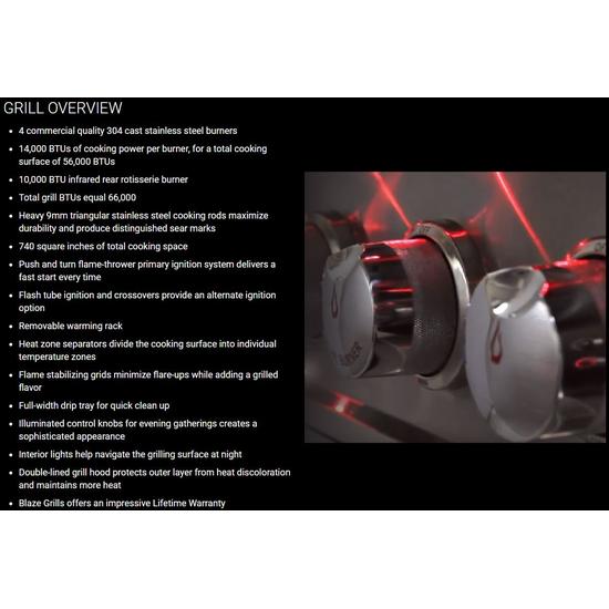 "32"" Blaze 4 Burner LTE Gas Grill Overview"