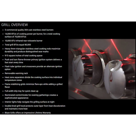 "40"" Blaze 5 Burner LTE Gas Grill Overview"