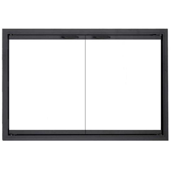Stiletto Outdoor Zero Clearance Fireplace Door in Rustic Black with Simplicity handles