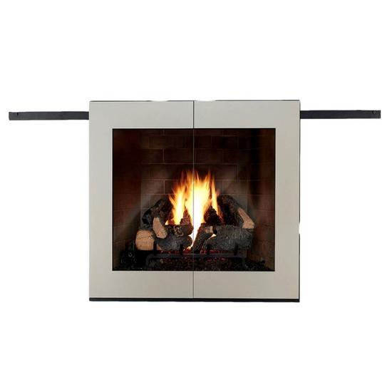 Moderne Sliding Fireplace Door in Rustic Black With Sterling Doors