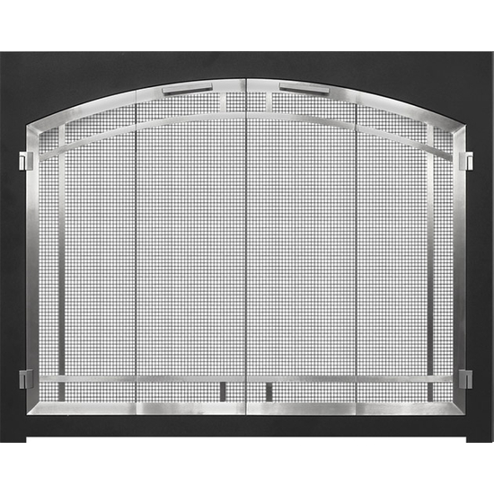 Cascadian Arch Conversion Fireplace Door with Matte Black Frame and Arched Door & Window Pane in Plated Brushed Nickel