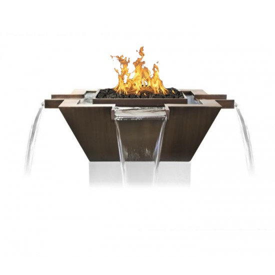 """30"""" Maya 4-Way Square Copper Fire & Water Bowl 30 Inch"""