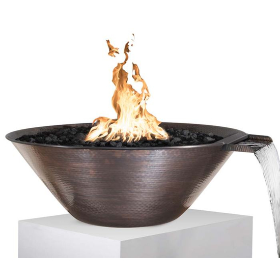 """31"""" Merida Hammered Copper Round Fire & Water Bowl 31 Inches"""