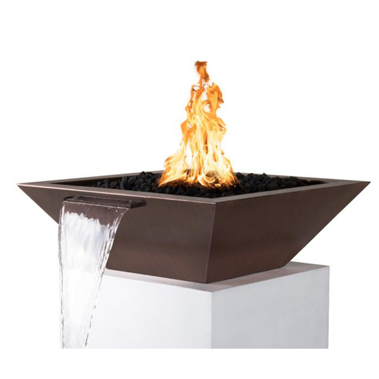 "30"" Square Madrid Hammered Copper Fire & Water Bowl"