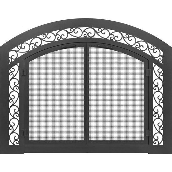 Cascadian Arched Masonry Fireplace Door with sidelights and transom in Matte Black and optional design 1514