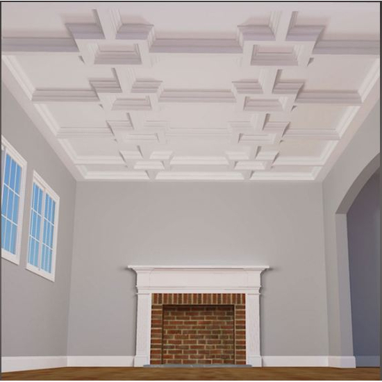 "8"" Deluxe Inner Square Intersection Coffered Ceiling System"