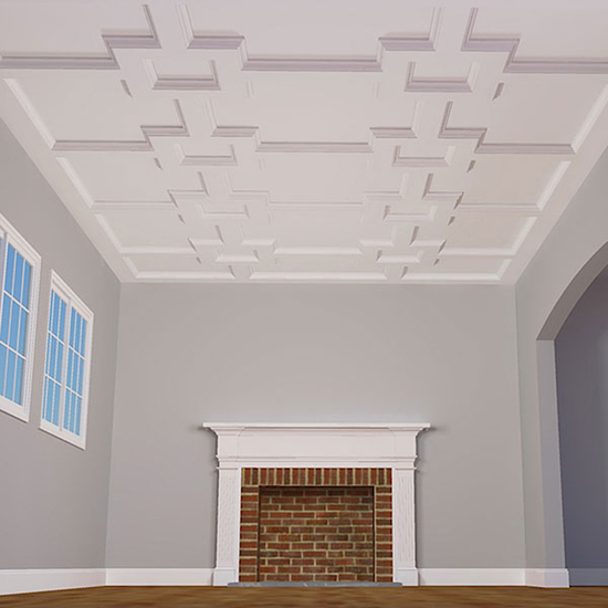 """8"""" Traditional Inner Square Intersection Coffered Ceiling System"""
