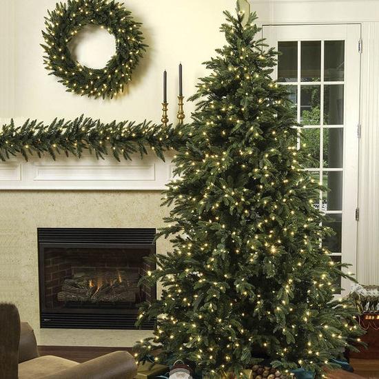 "5-6.5""H Full 54""W Carolina Fir Prelit Tree Warm White LED 700"