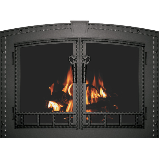 Denali Arched Masonry Fireplace Door in Textured Black