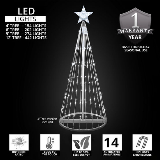 Cool White Light Show Tree Badge Graphic