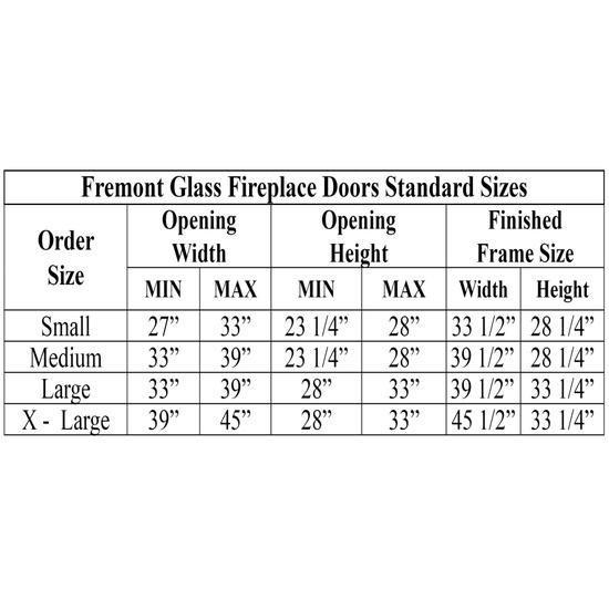 Fremont Fireplace Door Sizing Chart