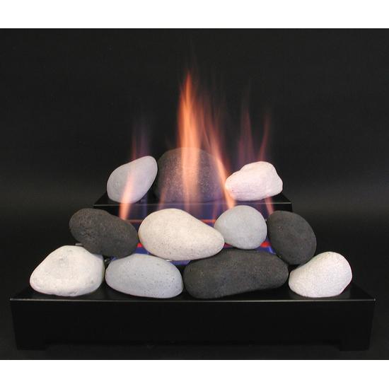 20 Inch ALTERNA FireBalls Set with Vent Free Black Burner With Calico FireStone