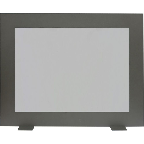 Saratoga modern fireplace glass screen shown in Textured Black with mesh screen