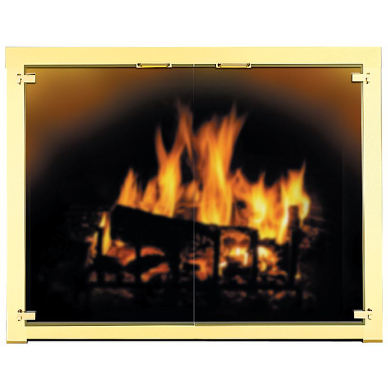 Appalachian All Glass Fireplace Door shown with cabinet style doors in polished brass