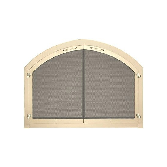 Revelation Arched Masonry Fireplace Door shown in polished brass with full fold bi-fold center view doors