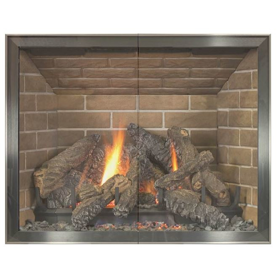 Biscayne Hidden Frame Fireplace Door in Brite Nickel