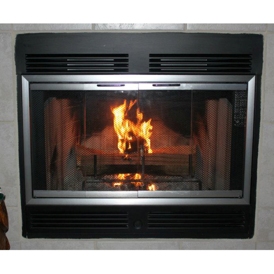 Amargosa Installed In Factory Built Fireplace - customer ordered separate fireplace curtain mesh