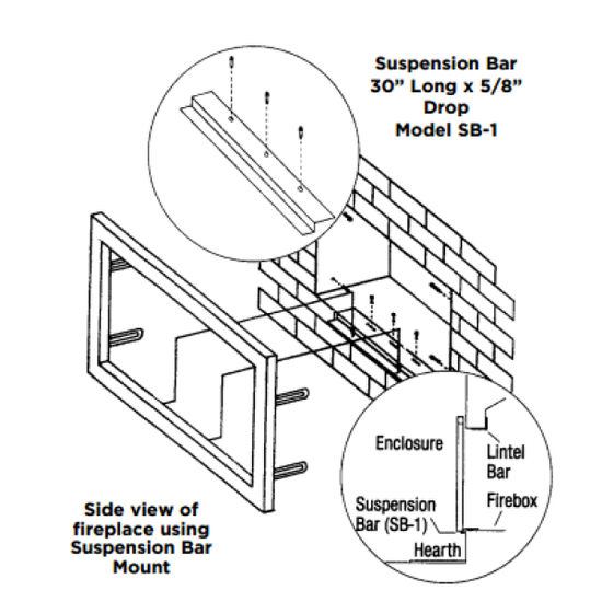 Fireplace door suspension bar install diagram