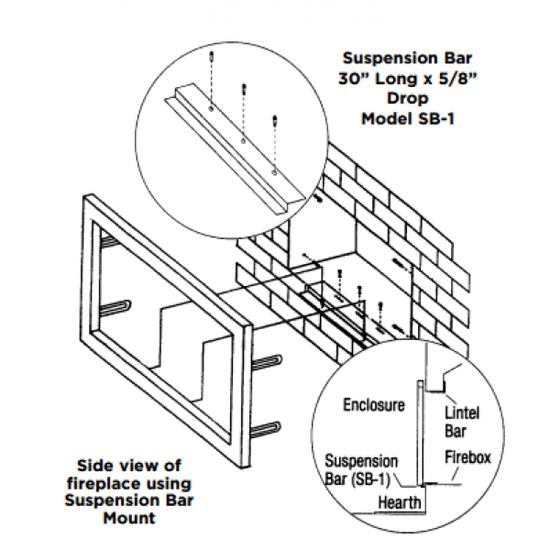 Fireplace door suspension bar install diagram