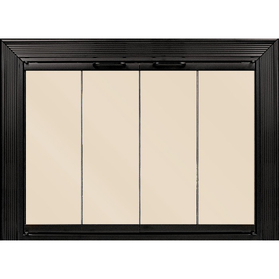 Decor Fireplace Door by Thermo Rite for a Masonry Fireplace in textured black with bronze glass