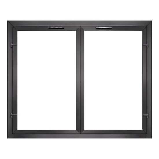 Normandy Fireplace Door in Black with Cabinet Twin Doors