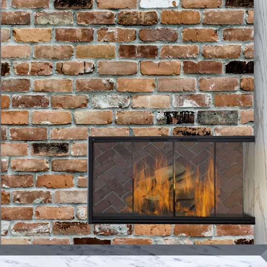 Stiletto Masonry Corner Fireplace Door in Rustic Black