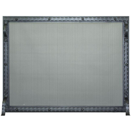 Blacksmith Fireplace Screen shown in charcoal powder coat finish