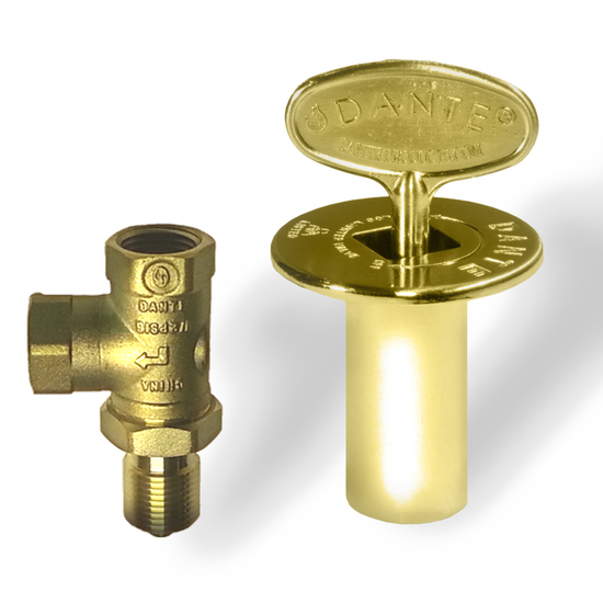 Brass angled gas valve kit