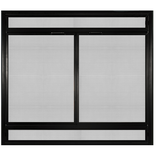 Complete Reface For Direct Vent Gas Fireplaces In Black & Mesh Louvers
