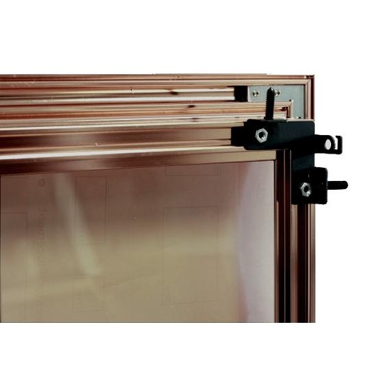 Huntress fireplace door mounting bracket - door shown in anodized Vintage Copper