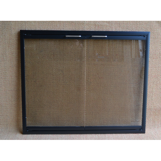Flat Black Rainbow Fireplace Doors with Cabinet Doors