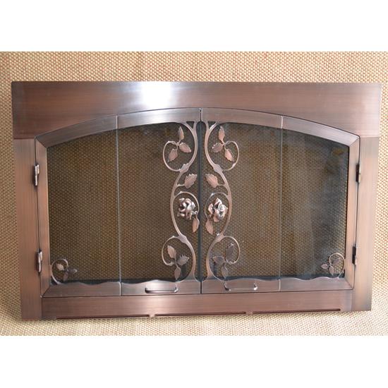 Antique Copper Climbing Rose Fireplace Door