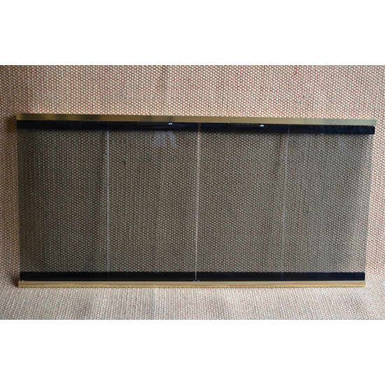 Glass And Track Fireplace Door with Polished Brass Tracks & Black Stiles