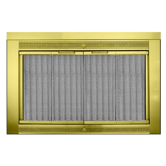 Inch Polished Brass Classic Fireplace Door